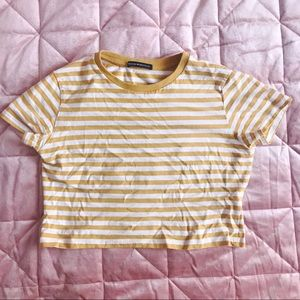 Brandy Melville Yellow Striped Tee